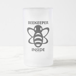Beekeeper Inside (Black White Bee Drawing) 16 Oz Frosted Glass Beer Mug