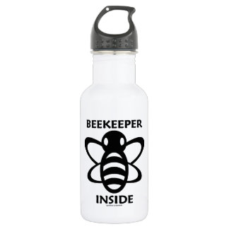 Beekeeper Inside (Black White Bee Drawing) 18oz Water Bottle