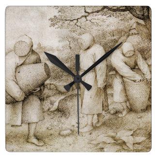 Beekeepers by Pieter Bruegel the Elder Square Wall Clock