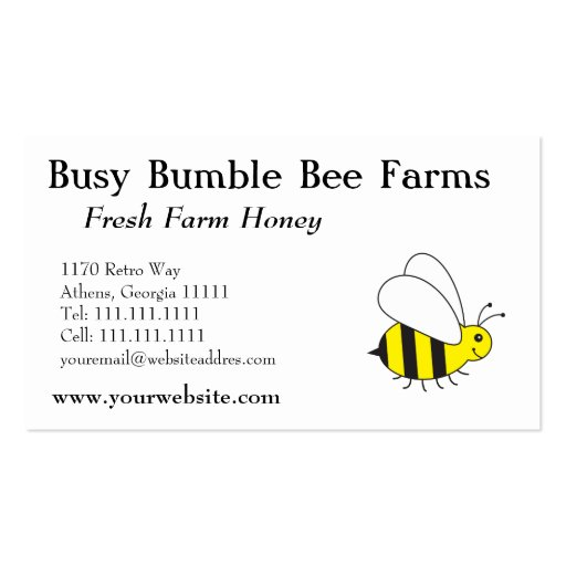 Beekeepers farm honey bumble bee business cards zazzle for Bee business cards
