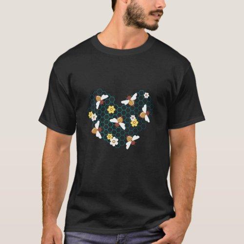Beekeeping Bees Heart Beekeeper Gift T_Shirt