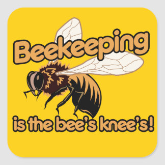 Beekeeping is the bees knees square sticker