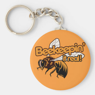 Beekeeping it REAL Basic Round Button Keychain