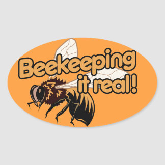 Beekeeping it Real! Oval Stickers