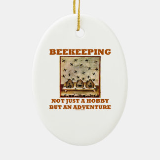 Beekeeping Not Just A Hobby But An Adventure Double-Sided Oval Ceramic Christmas Ornament