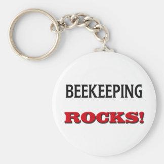 Beekeeping Rocks Keychain