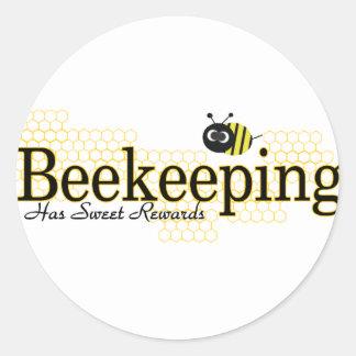 beekeeping sweet rewards classic round sticker