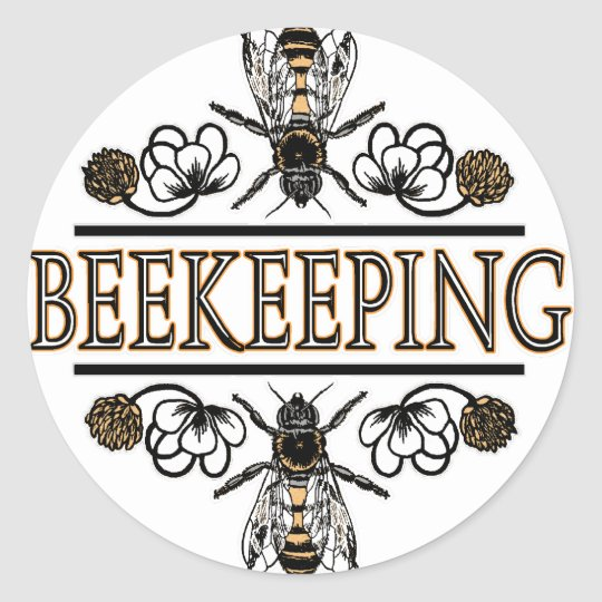 beekeeping with worker bees classic round sticker