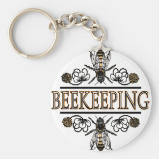 beekeeping with worker bees keychain
