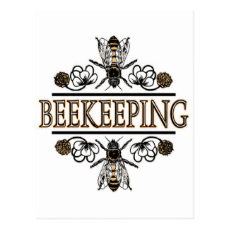 beekeeping with worker bees postcard