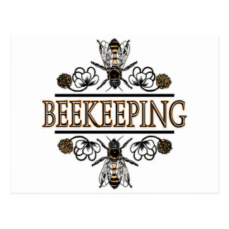 beekeeping with worker bees postcard