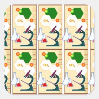 beekers química clase de química universidad e calcomania cuadradas personalizadas