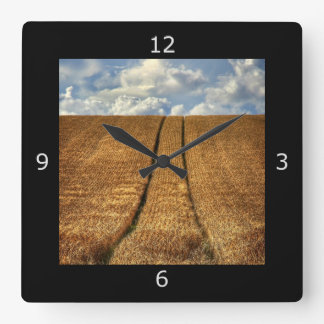 Been and Gone wheat field with Tractor Tracks Square Wall Clock
