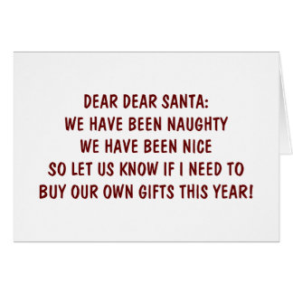 BEEN NAUGHT/NICE-LET'S GET TOGETHER CHRISTMAS CARD