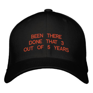 BEEN THERE DONE THAT 3 OUT OF 5 YEARS EMBROIDERED BASEBALL CAP