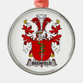 Beenfeld Family Crest Round Metal Christmas Ornament