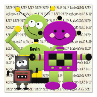 "Beep Beep Robots Customized Birthday Invitation 5.25"" Square Invitation Card"