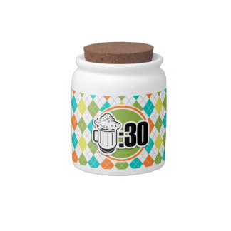 Beer:30 on Colorful Argyle Pattern Candy Jar