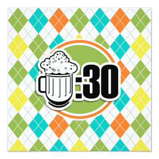 """Beer:30 on Colorful Argyle Pattern 5.25"""" Square Invitation Card"""