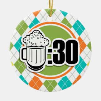 Beer:30 on Colorful Argyle Pattern Double-Sided Ceramic Round Christmas Ornament