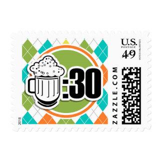 Beer:30 on Colorful Argyle Pattern Postage Stamp