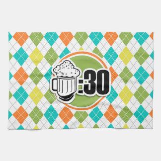 Beer:30 on Colorful Argyle Pattern Towel