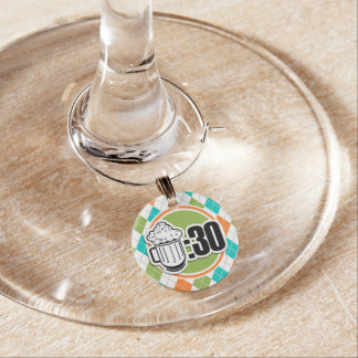 Beer:30 on Colorful Argyle Pattern Wine Glass Charm