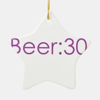 Beer:30 Purple Ceramic Ornament