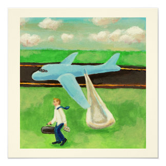 Beer, a Big Slide, and my Dignity - quitting plane 5.25x5.25 Square Paper Invitation Card