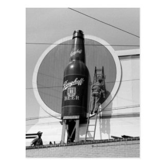 Beer Advertising Billboard, 1940 Postcard