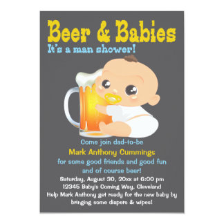 Beer And Babies Dad-To-Be Baby Shower Invitation