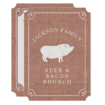 Beer and Bacon Brunch Vintage Pig Country Rustic Card