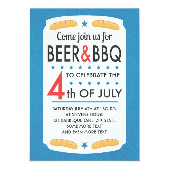 Beer and BBQ 4th of july party invitation