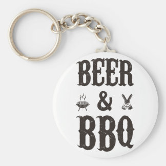 Beer and BBQ Basic Round Button Keychain