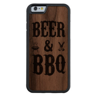 Beer and BBQ Carved Walnut iPhone 6 Bumper Case