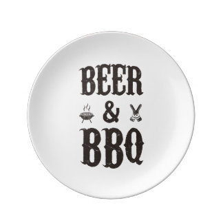 Beer and BBQ Dinner Plate