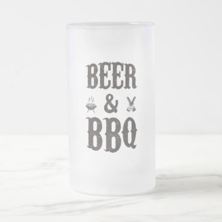 Beer and BBQ 16 Oz Frosted Glass Beer Mug