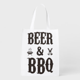 Beer and BBQ Reusable Grocery Bag