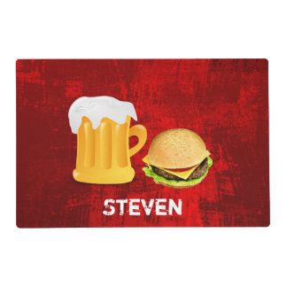Beer and Cheeseburger on Red Grunge Background Placemat