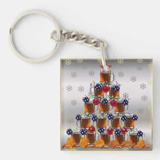 Beer and Chips Single-Sided Square Acrylic Keychain