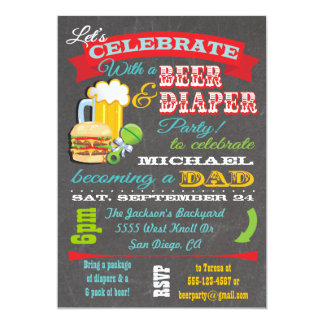 Beer and Diaper Baby Shower for Dad to be 5x7 Paper Invitation Card