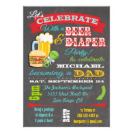 Beer and Diaper Baby Shower for Dad to be Custom Invitation