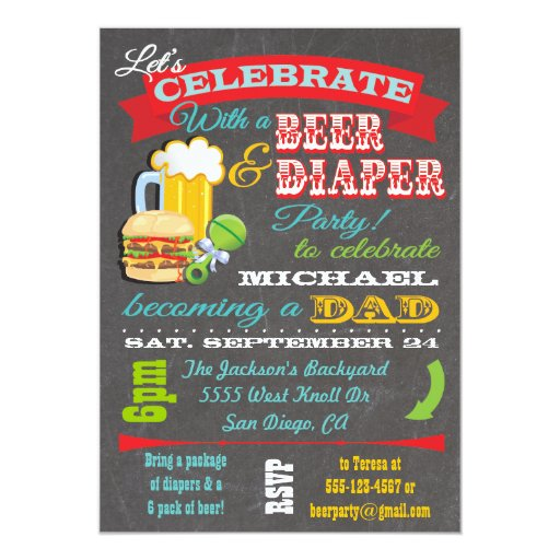 Baby Showers For Dads To Be ~ Beer and diaper baby shower for dad to be paper