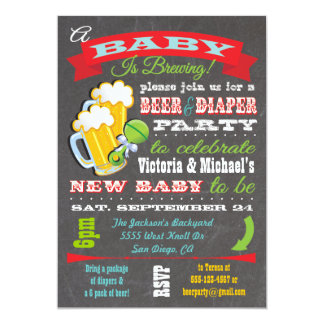 Beer and Diaper Baby Shower Invitations