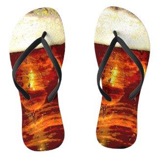 Beer and Foam Flip Flops