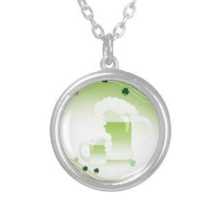 Beer and green,white clover round pendant necklace