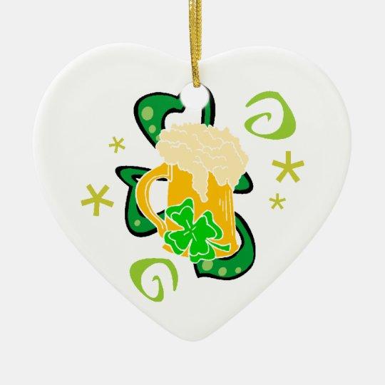 Beer and Irish Cheer Ceramic Ornament