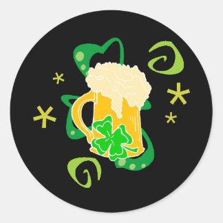 Beer and Irish Cheer Classic Round Sticker