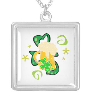 Beer and Irish Cheer Square Pendant Necklace