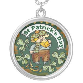 Beer and Irishman Round Pendant Necklace